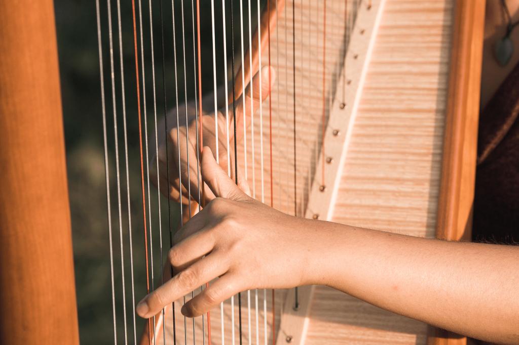 Theresa zupft an der Harfe